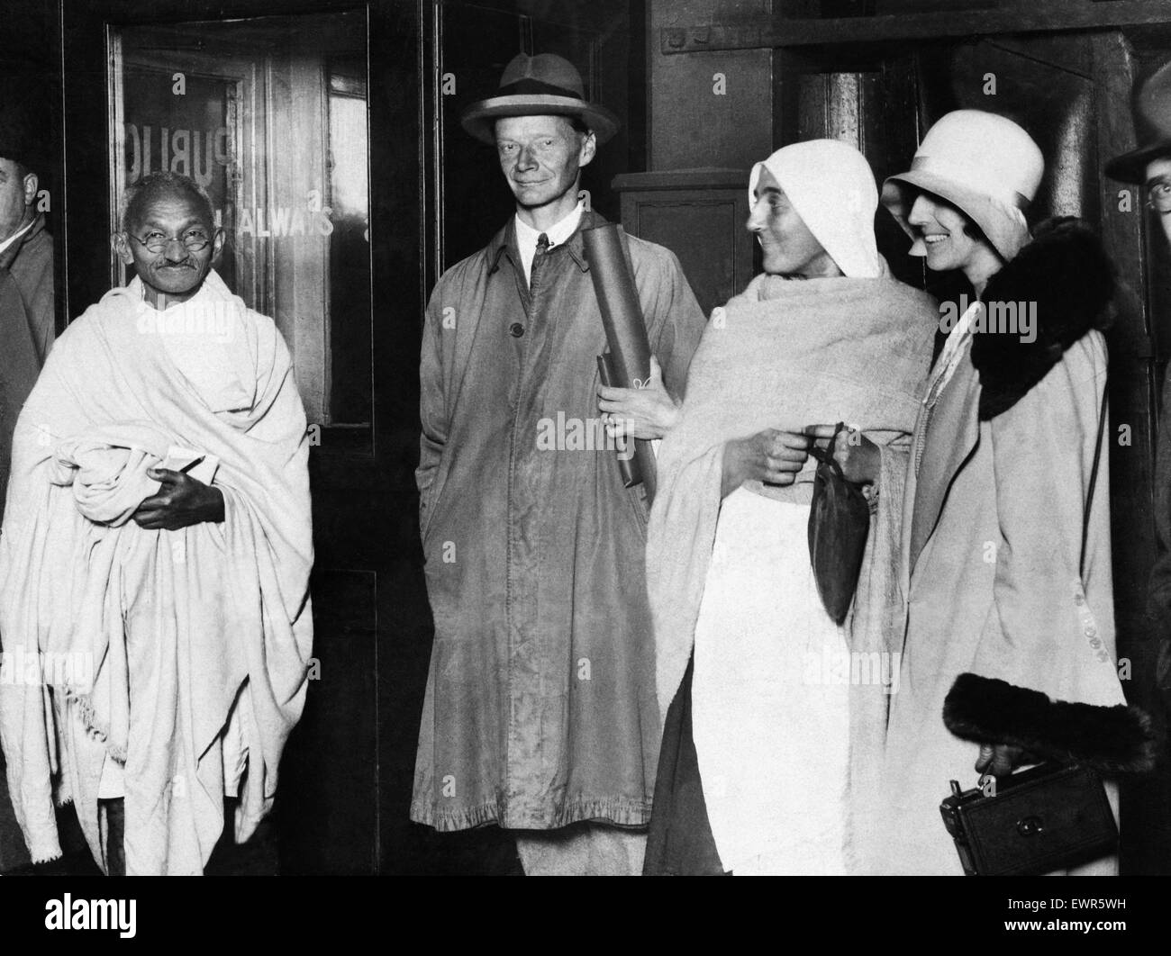 Mohandas 'Mahatma' Gandhi, leader of the  Indian independence movement in British-ruled India, pictured - Stock Image