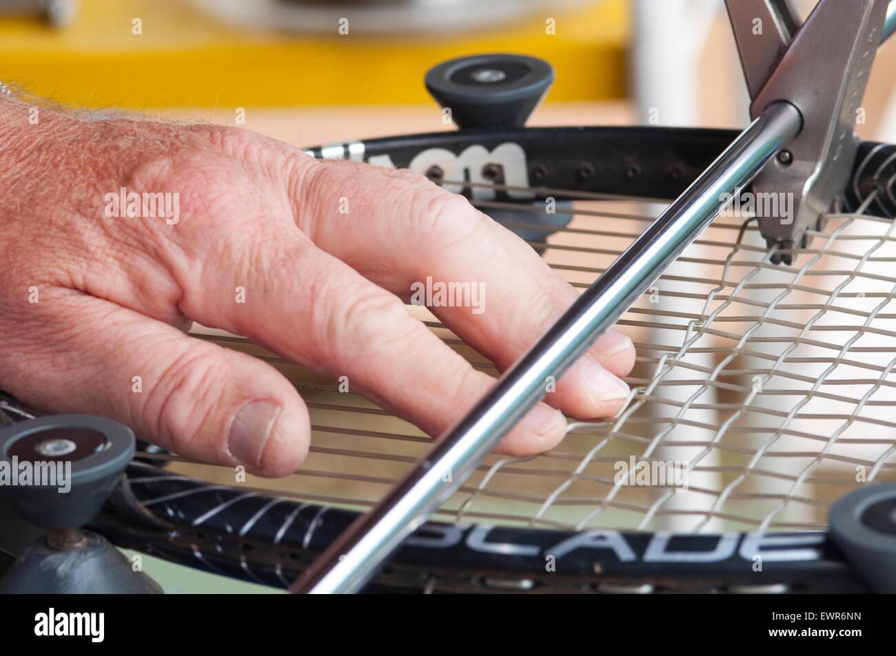Tennis Racket in Stringing Machine Being Repaired - Stock Image