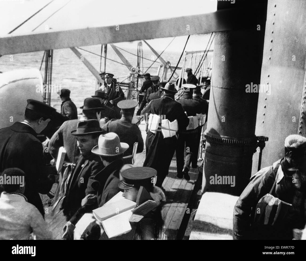 Sinking of the ship Falaba DM 3141d Box 5 March 28th 1915. The sinking of the 'Falaba'. Passengers onboard - Stock Image
