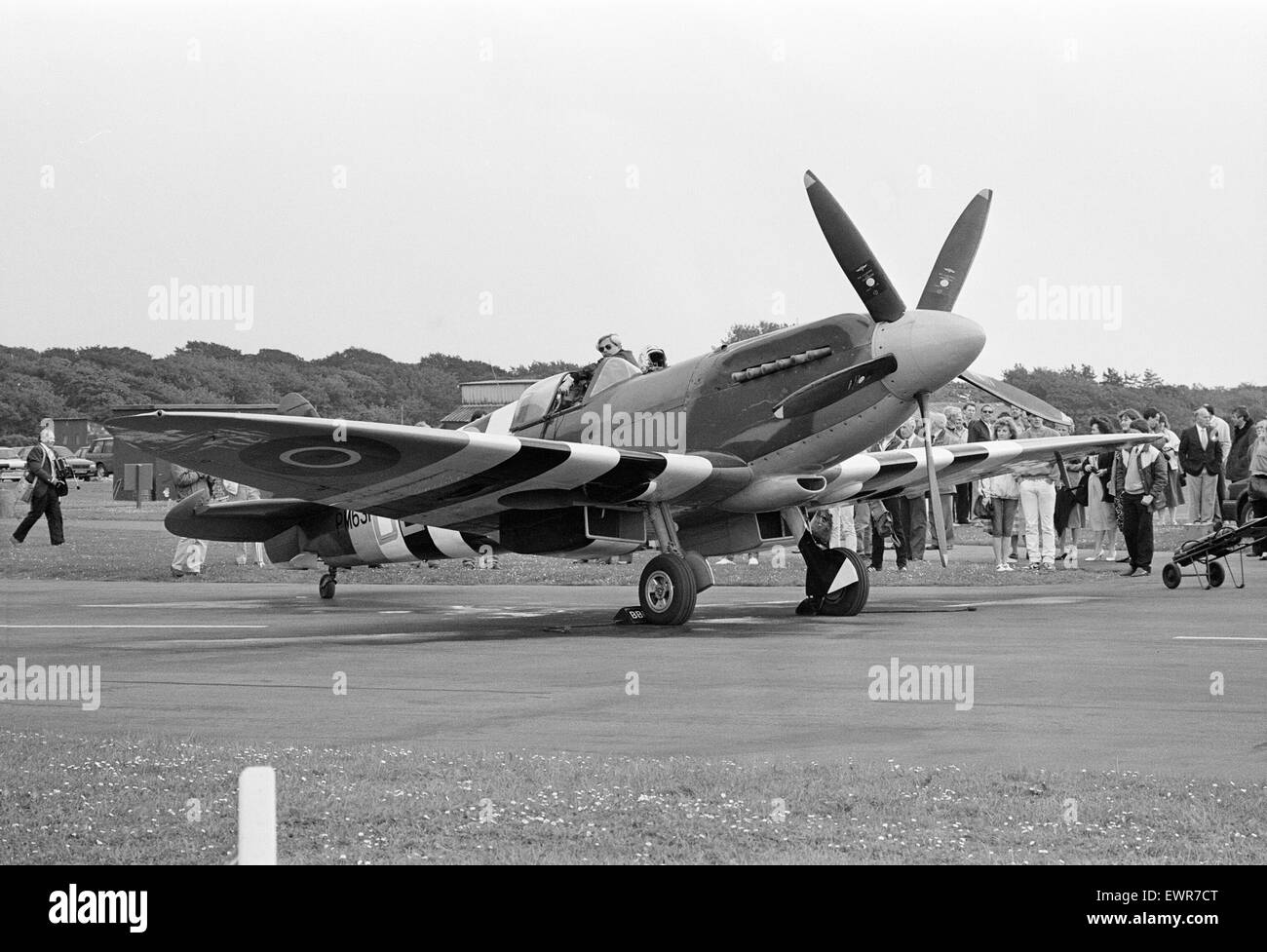 Spitfire single seat fighter aircraft on show at RAF Woodvale, South of Southport, Merseyside, 10th June 1987. Spitfire - Stock Image