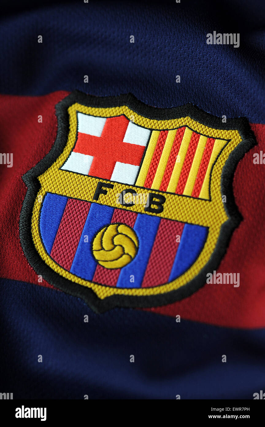 Close up of Futbol Club Barcelona jersey - Stock Image