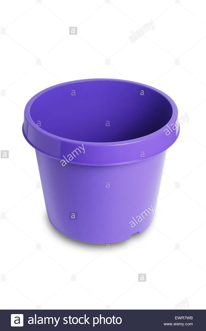 Purple plastic plant pot isolated on white background with clipping path - Stock Image
