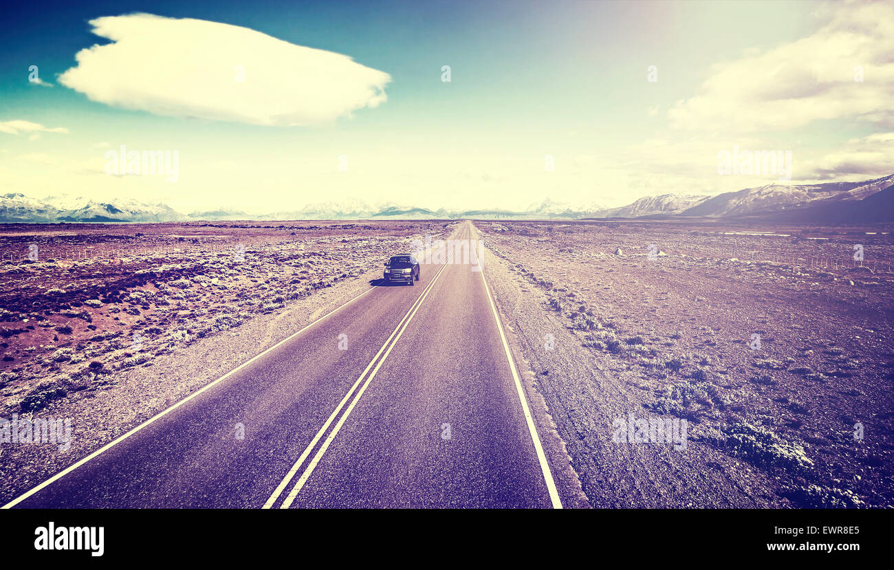 Retro old film style picture of country highway, Ruta 40 in Argentina, South America. - Stock Image
