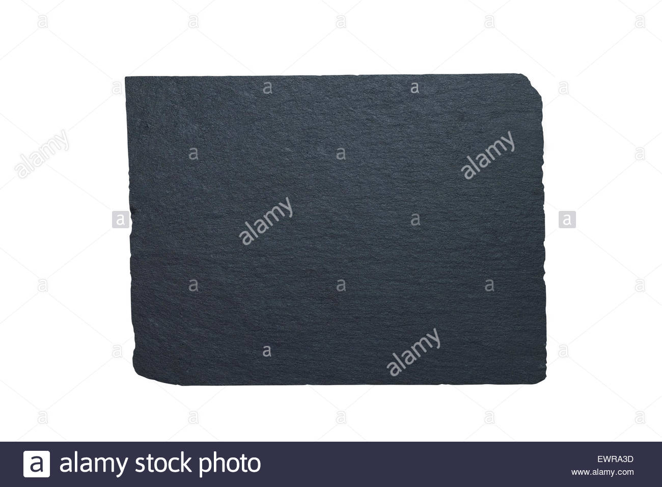 Piece of flat clean sheet of black slate, shot from above isolated on white background with clipping path - Stock Image