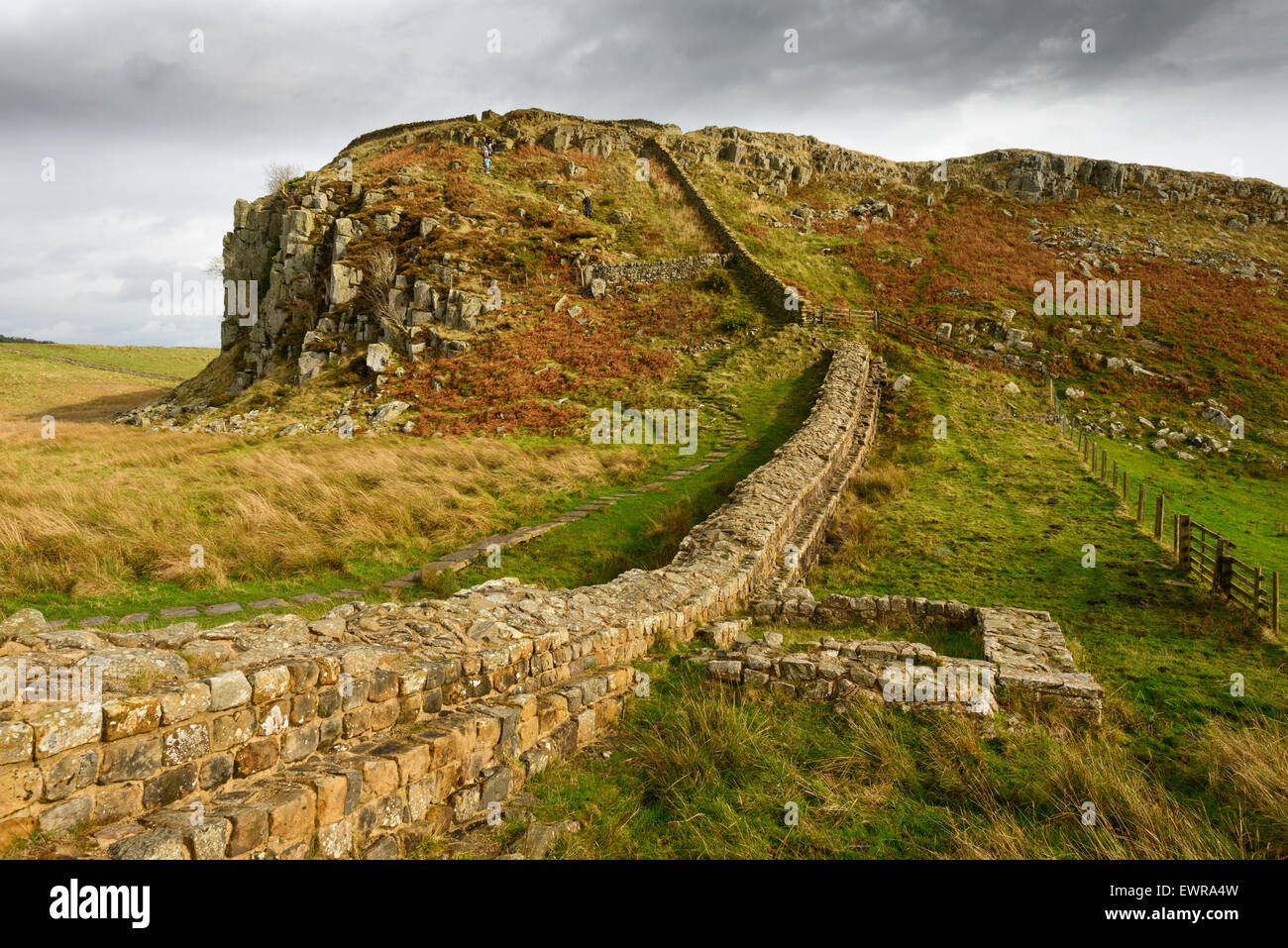 Hadrian's Wall at Steel Rigg in Northumberland looking east to the point where the wall and the path ascends Peel Stock Photo