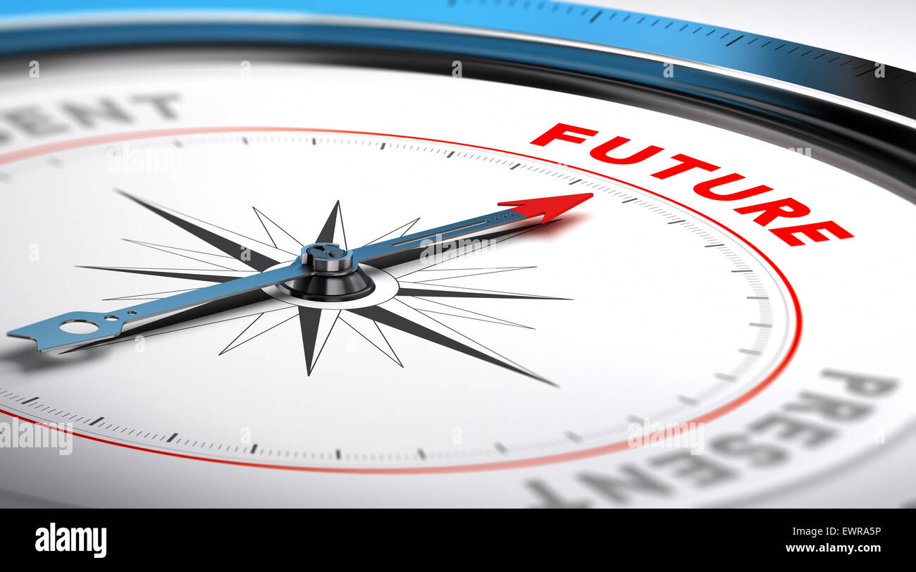 Compass with needle pointing the word future. Conceptual illustration suitable for motivation purpose or future - Stock Image
