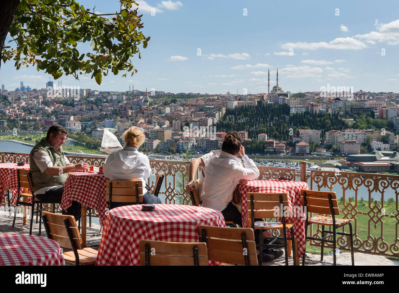 An expansive view of Golden Horn can be enjoyed with a drink at the Pierre Lotti Teahouse in the Eyup District of - Stock Image