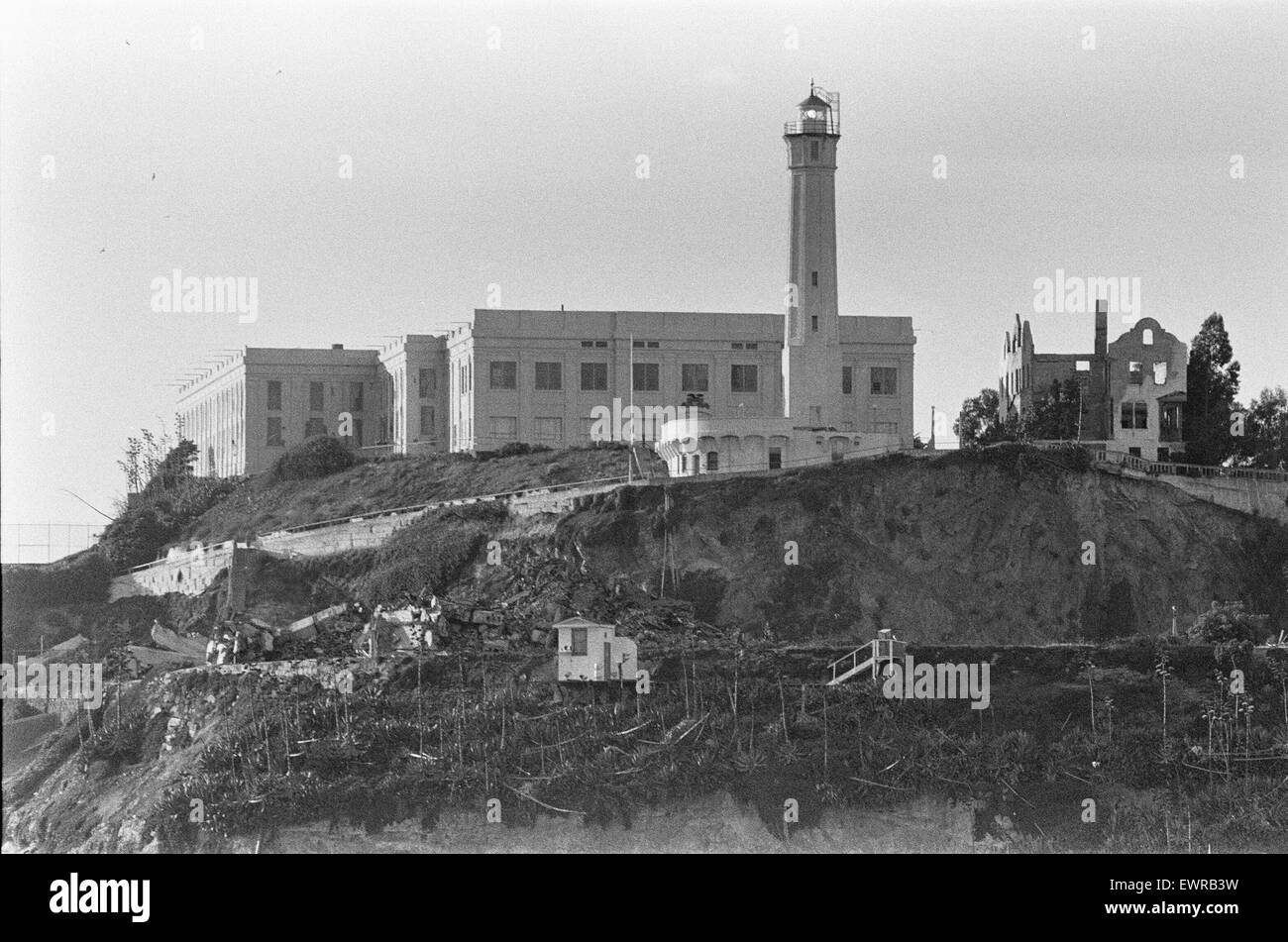 Alcatraz Island and prison in San Francisco Bay. September 1979 The prison was originally built by the US Army in Stock Photo