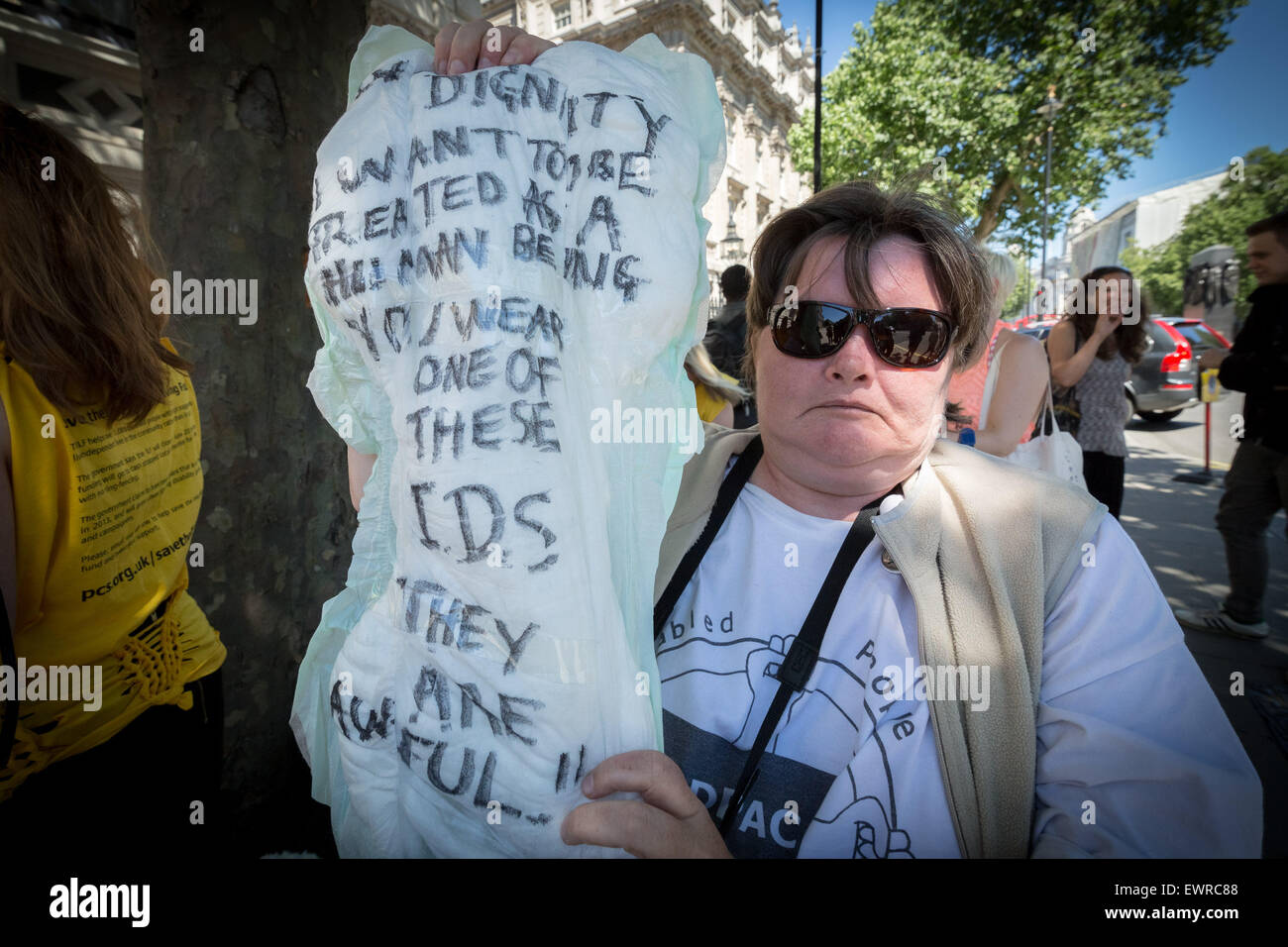 London, UK. 30th June, 2015. Protest against axing of the Independent Living Fund (ILF) by Disabled People Against - Stock Image