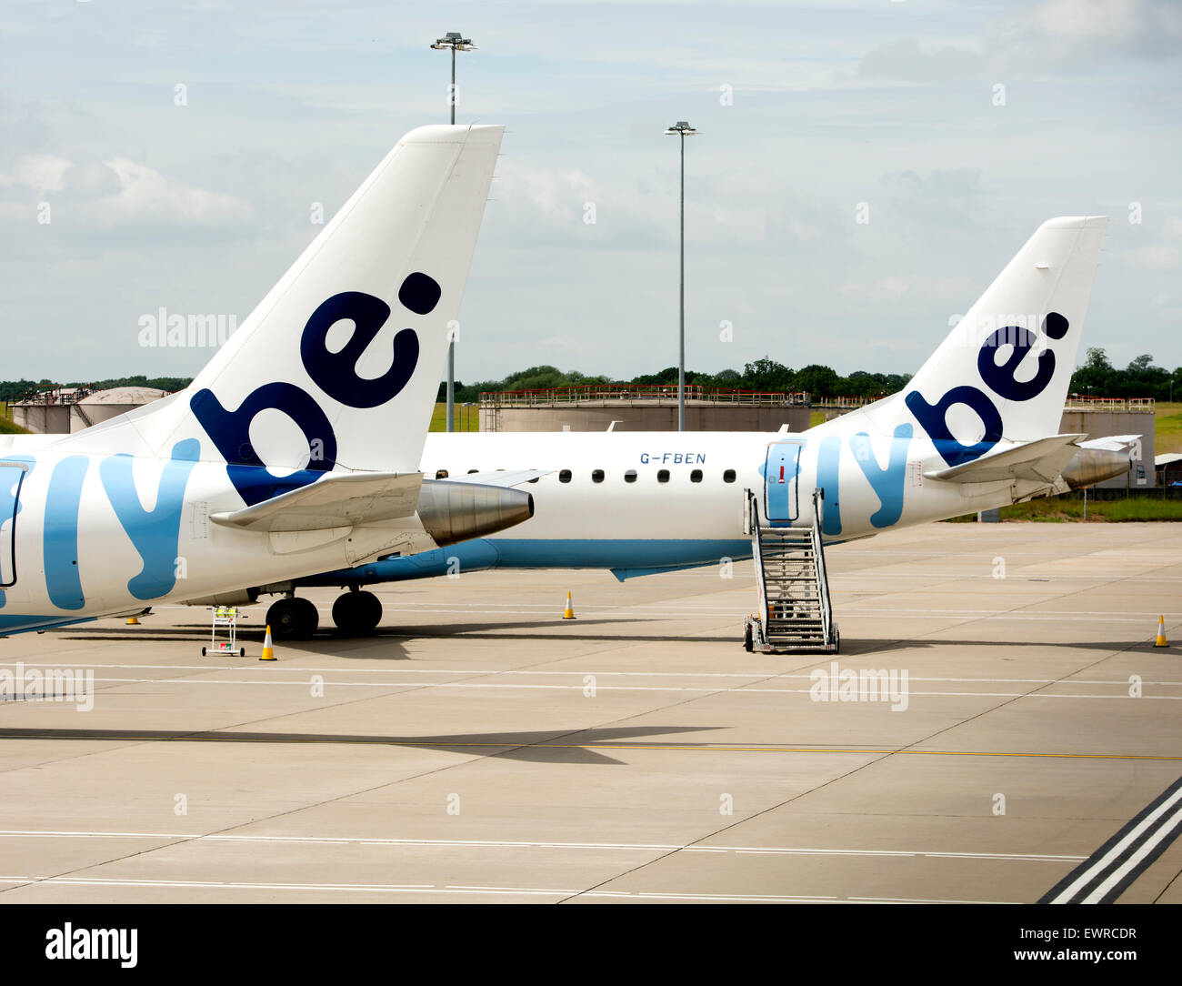 Flybe aircraft at Birmingham Airport, UK - Stock Image