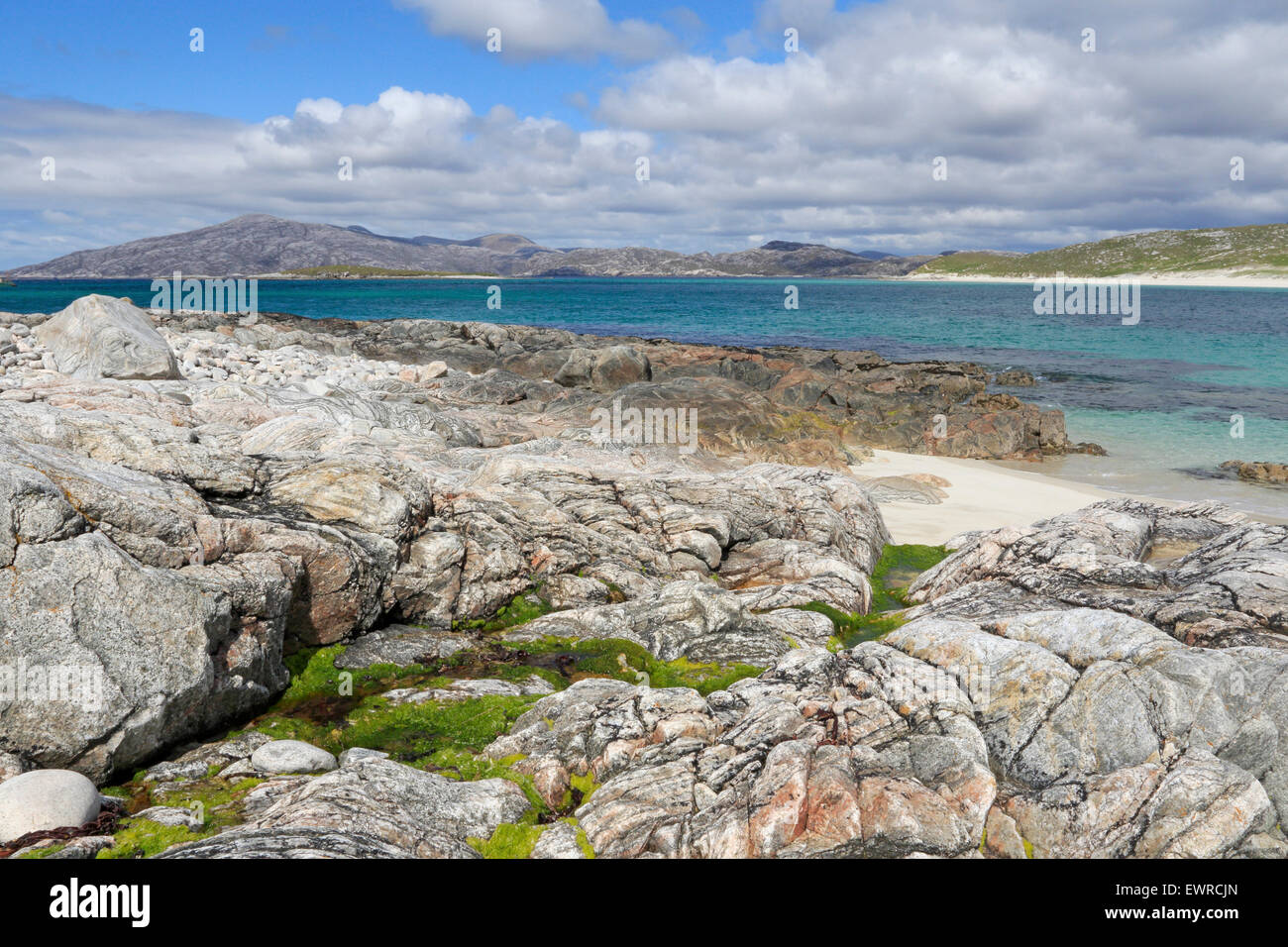 View of Scottish Mainland from the Isle of Scarp on a sunny summers day - Stock Image