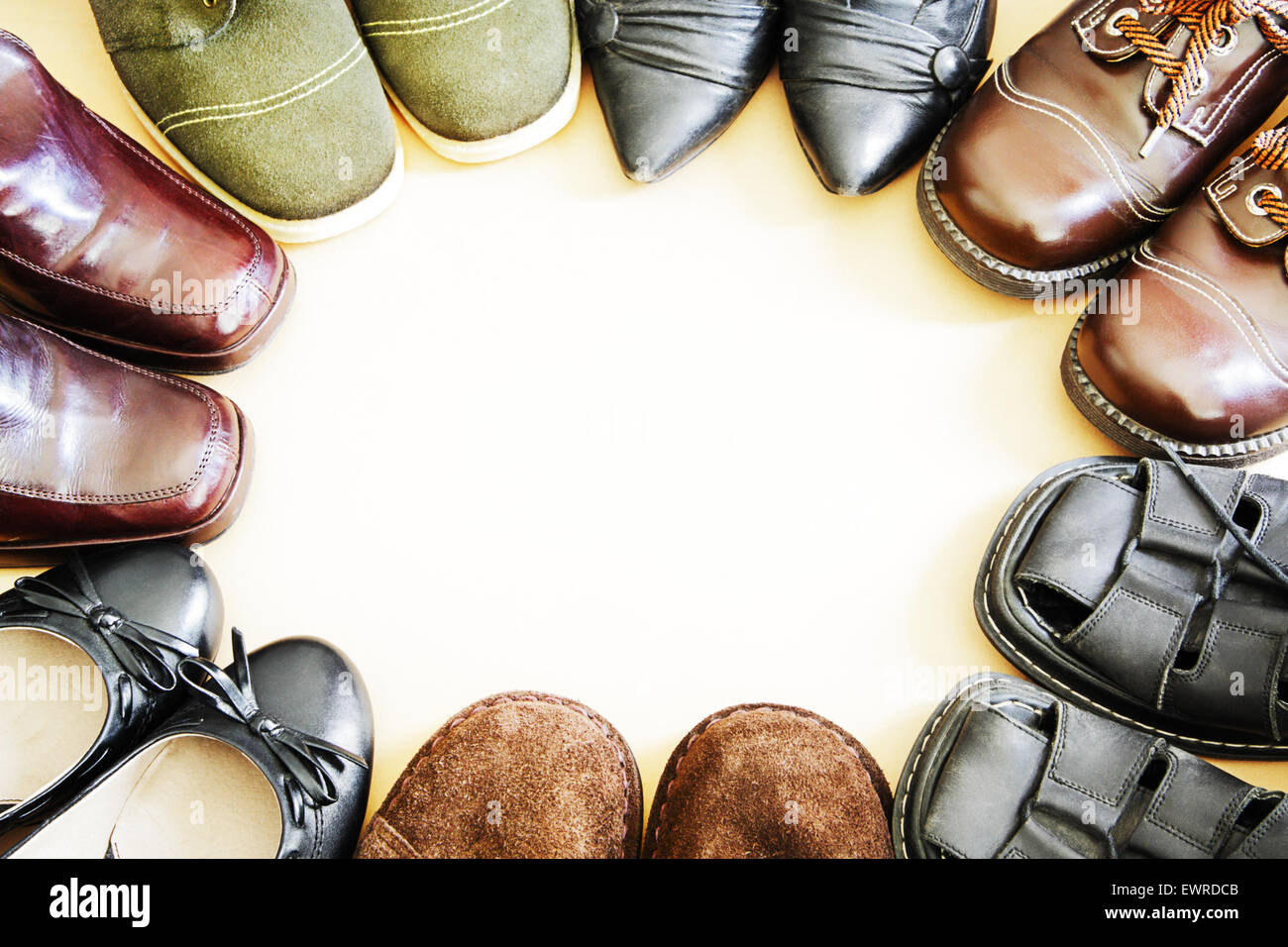 22d1af875147 Various shoes arranged in a circle Stock Photo  84723307 - Alamy