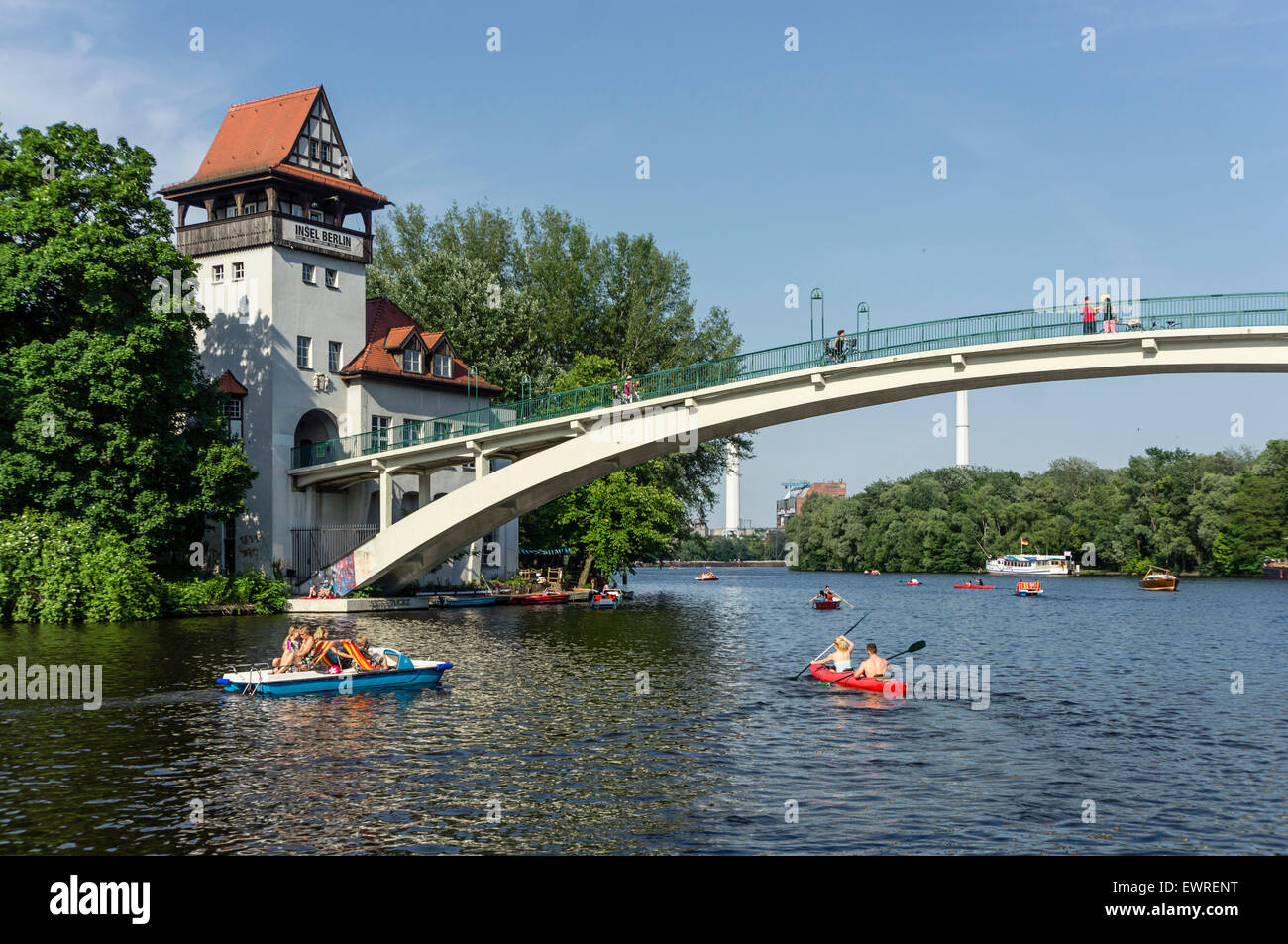Island of Jouth, Insel der Jugend , River Spree, Paddle boats in summer, Treptow, Berlin - Stock Image