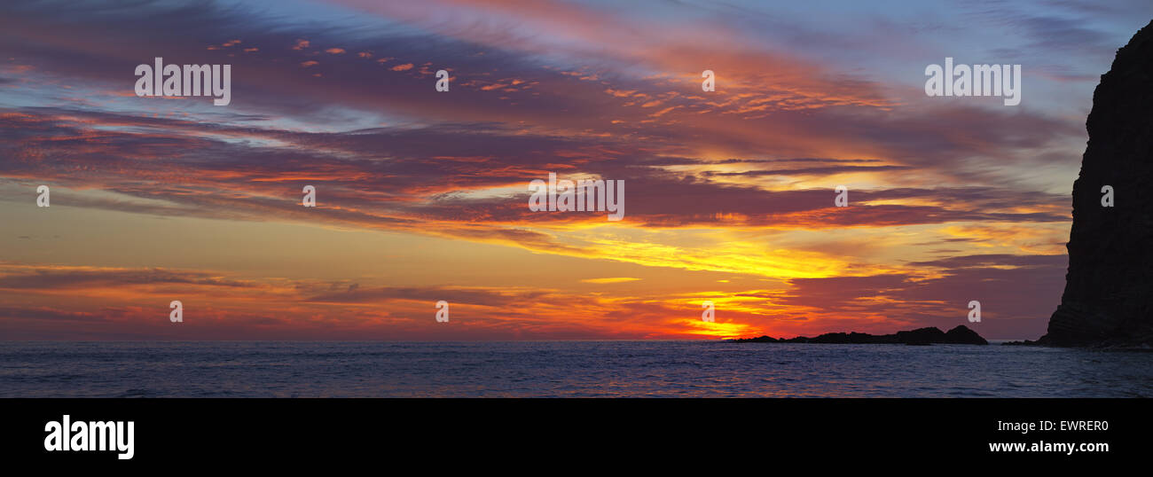 Sunset,Crackington haven in Cornwall - Stock Image