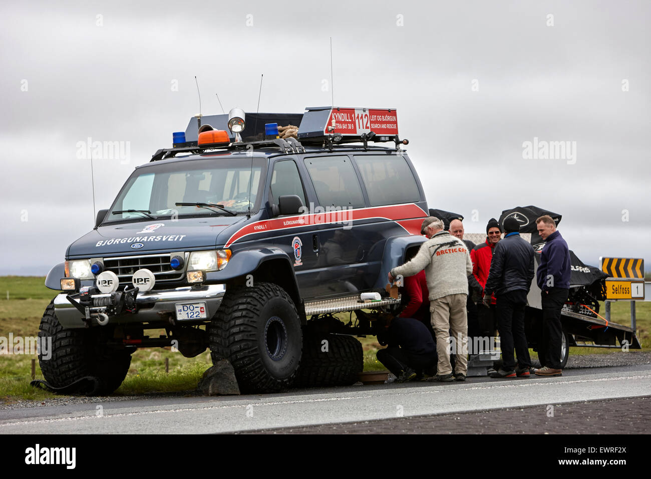 broken down Björgunarsveitin search and rescue truck in Iceland - Stock Image
