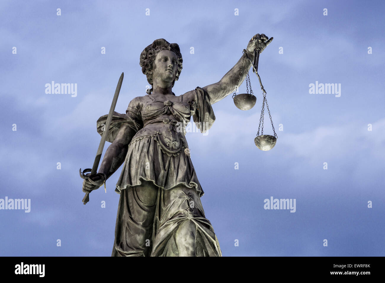 Justitia, The godness of Justice, Fountain of justice,  Roemerberg , Frankfurt Germany - Stock Image