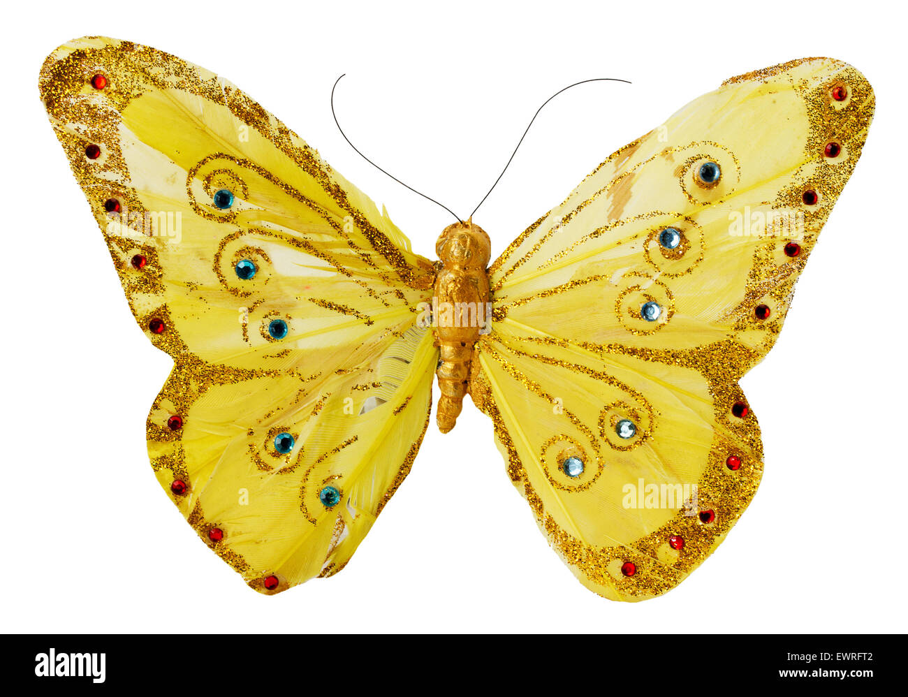 artificial golden butterfly isolated on the white background Stock ...