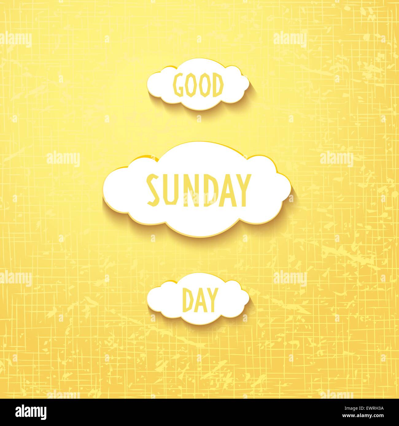 Joyful clouds with quote - good sunday day, on gunny background. Vector eps 10 - Stock Vector