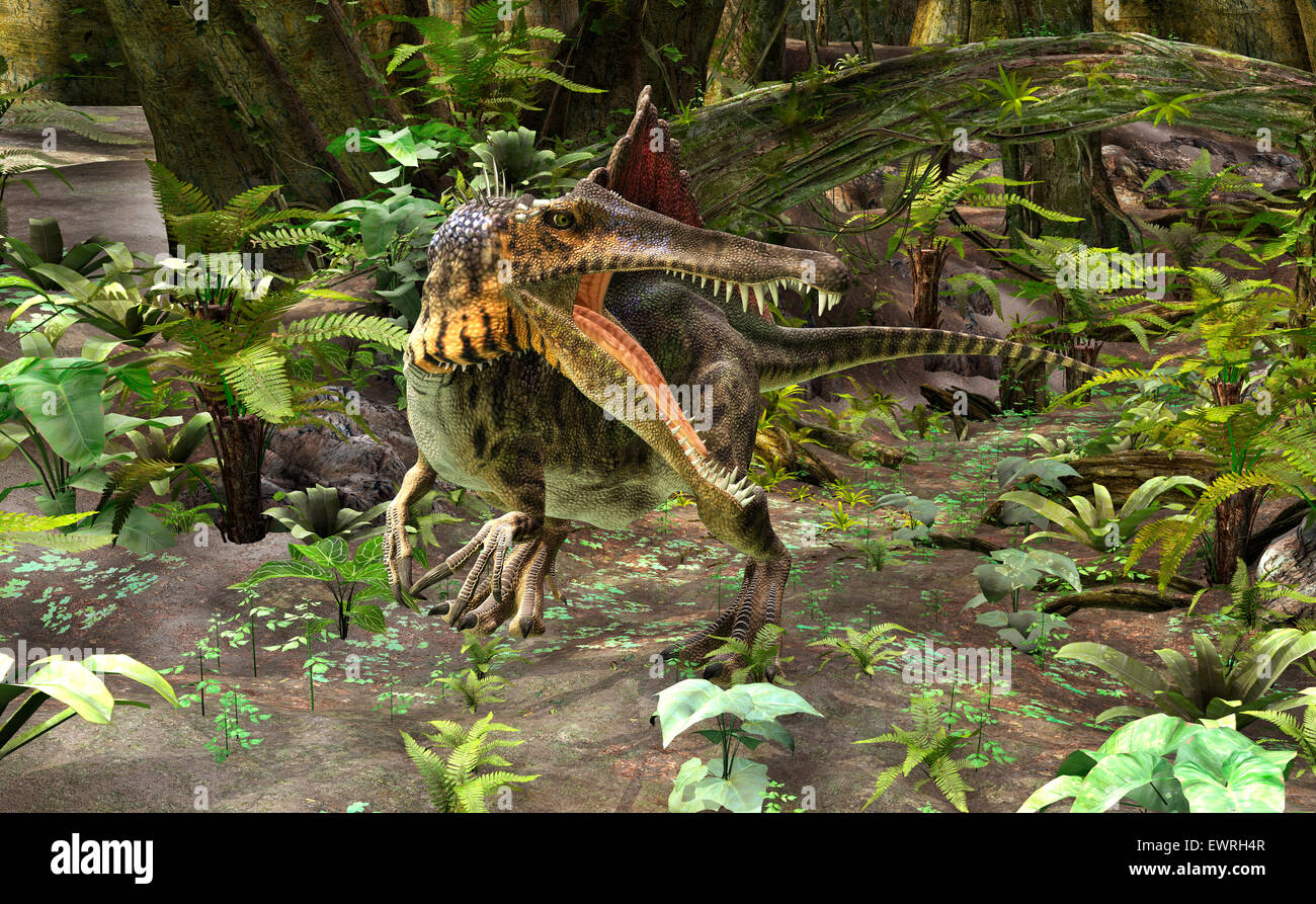 3D digital render of a dinosaur spinosaurus on a green forest background - Stock Image