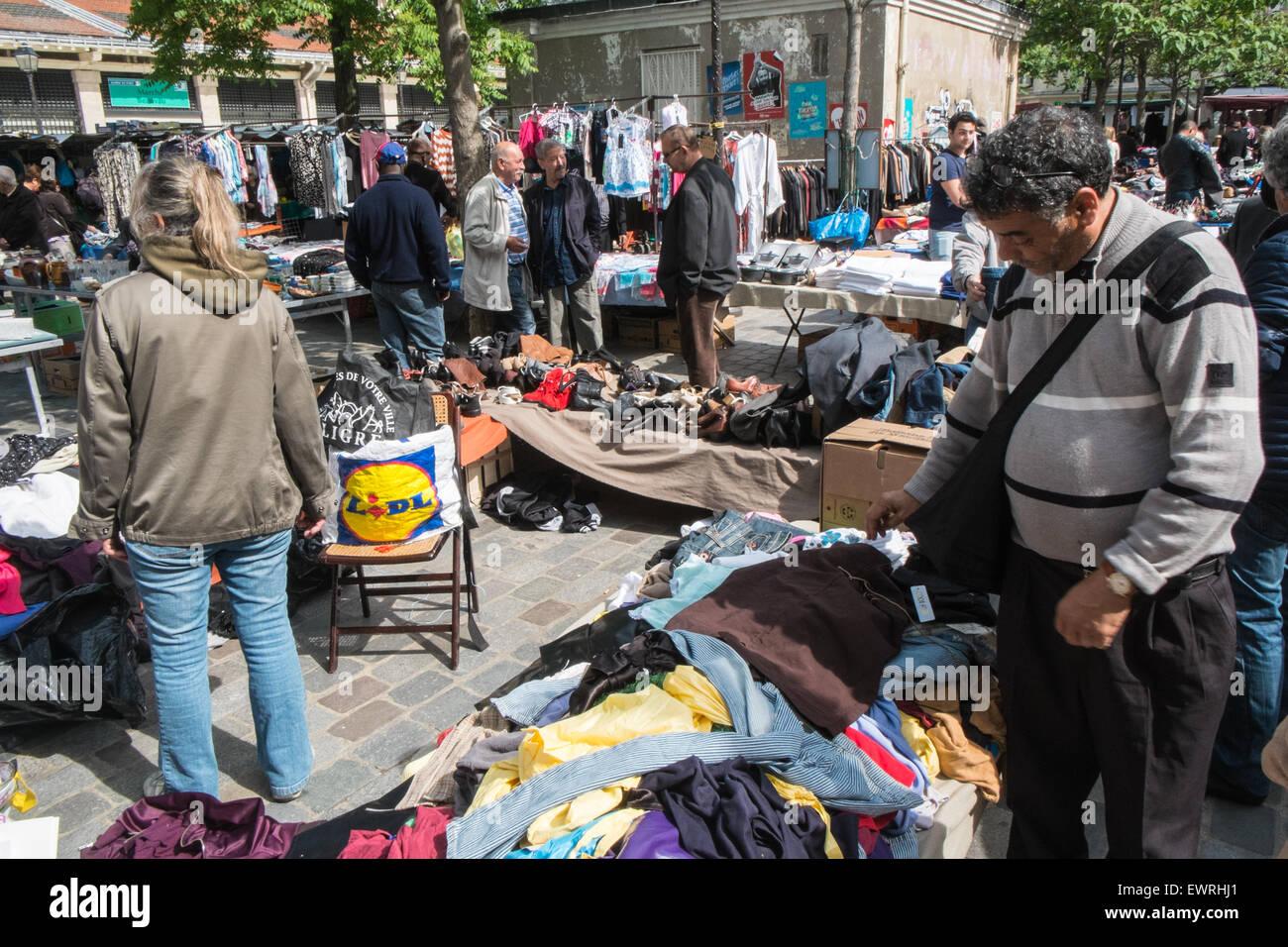 Secondhand goods at flea market,Marche,Place d'Aligre,Paris,France. - Stock Image