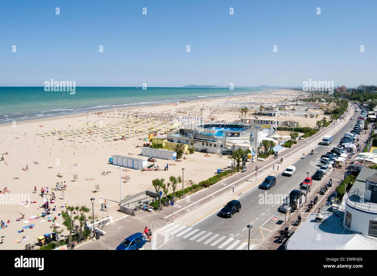 rimini italy italian beach beaches Emilia Romagna region Adriatic Sea resort resorts east coast eastern coastal - Stock Image