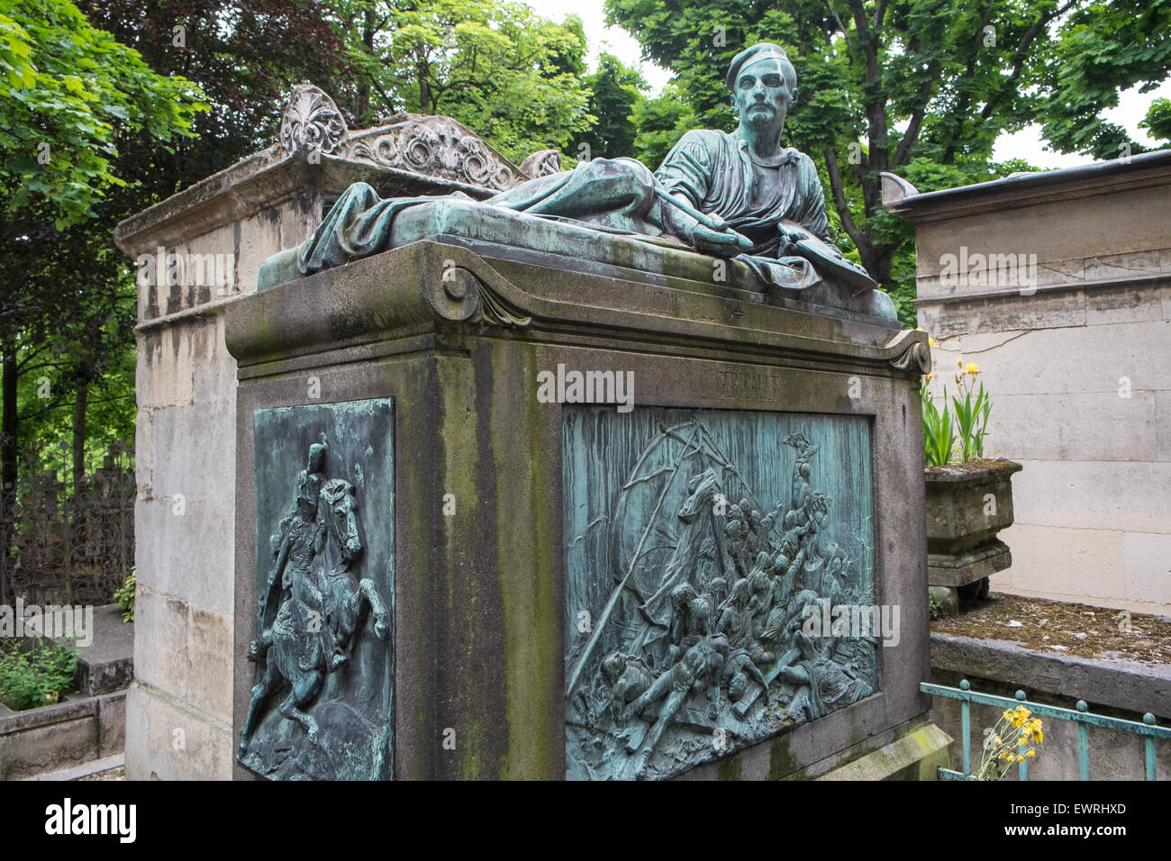 Tomb of the painter Gericault, above his masterwork 'The Raft of the Medusa', in the Pere Lachaise cemetery - Stock Image