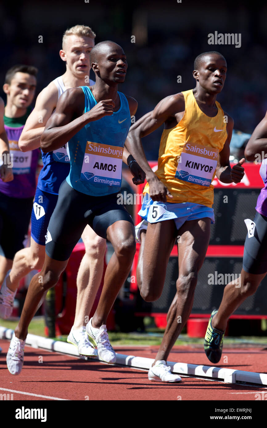 Nijel AMOS, Adam KSZCZOT, Job KINYOR, Men's 800m, IAAF Diamond League 2015, Alexander Stadium, Birmingham, UK, - Stock Image