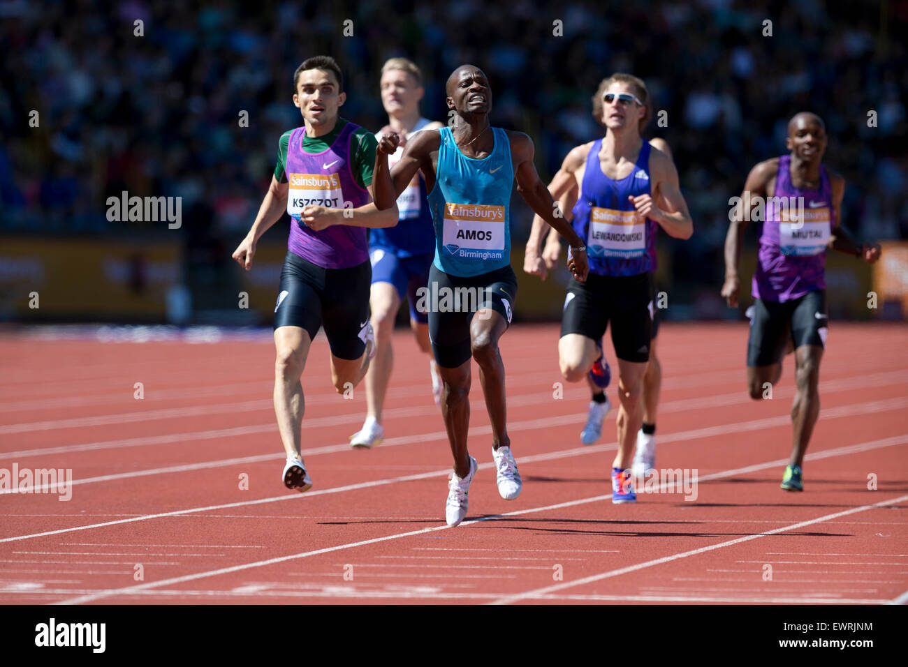 Nijel AMOS, Adam KSZCZOT Men's 800m, IAAF Diamond League 2015, Alexander Stadium, Birmingham, UK, 7th June 2015. - Stock Image