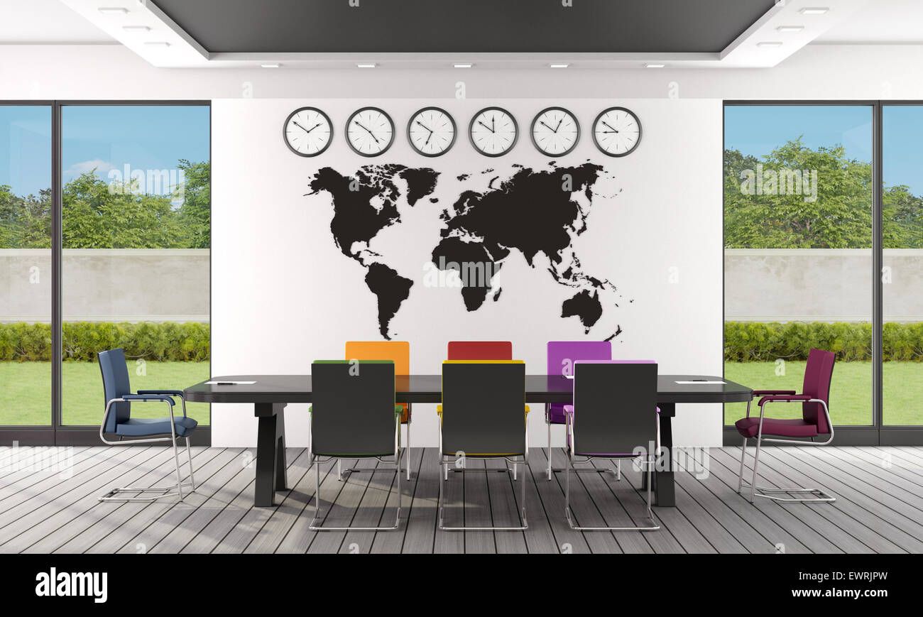 Black and white boardroom with colorful chairs and world map on wall black and white boardroom with colorful chairs and world map on wall 3d rendering gumiabroncs Gallery