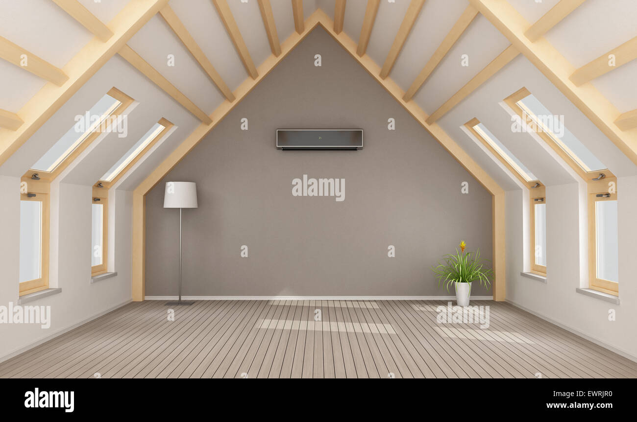 Modern attic without furniture and black air-conditioner on wall - 3D rendering & Modern attic without furniture and black air-conditioner on wall ...