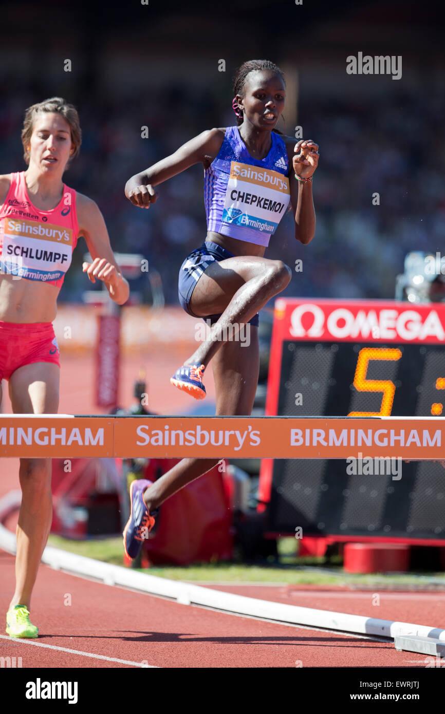 Joan CHEPKEMOI, Fabienne SCHLUMPF, Women's 3000m Steeplechase, IAAF Diamond League 2015, Alexander Stadium, Birmingham, Stock Photo
