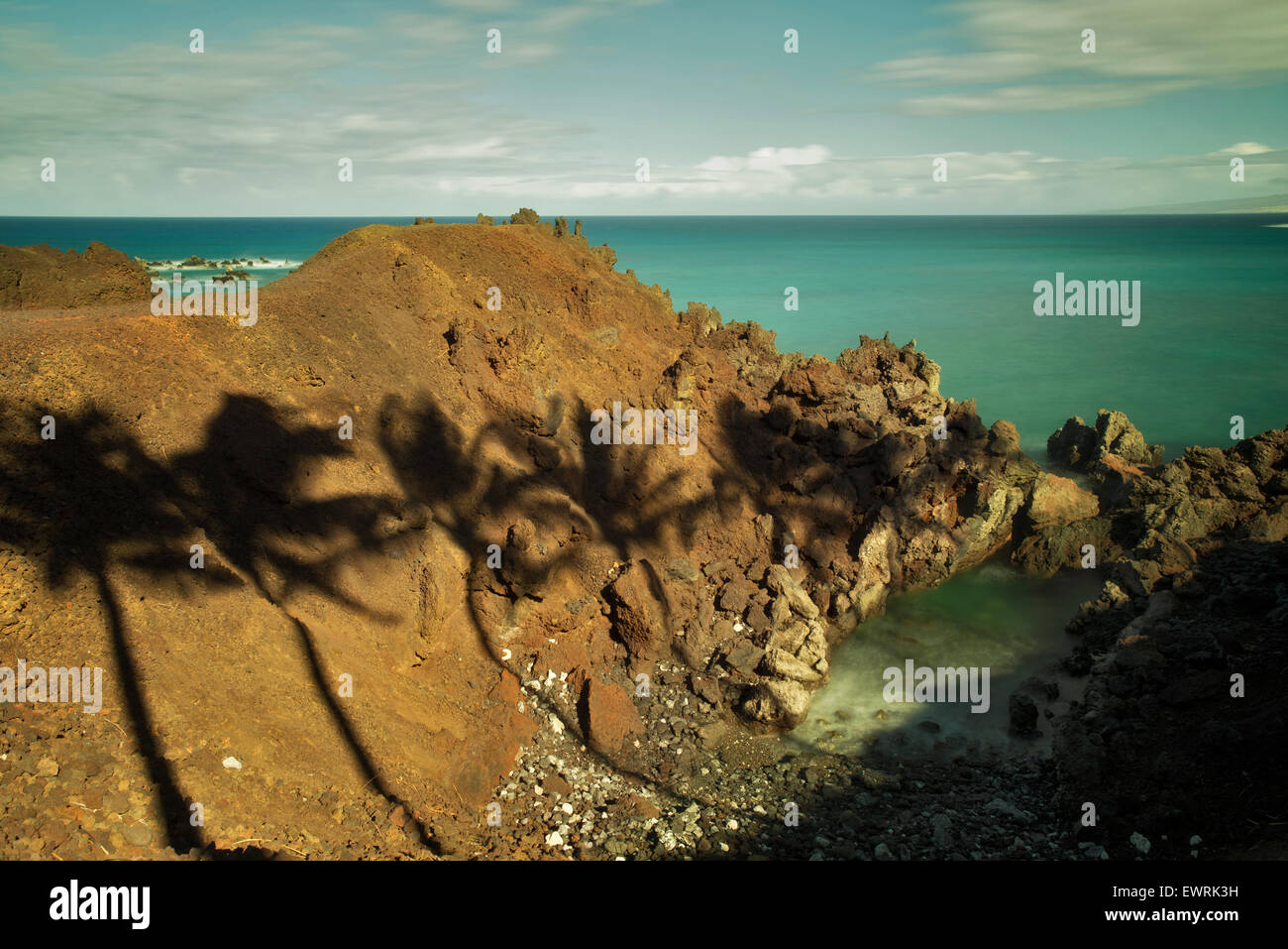 Palm tree shadows and ocean. Hawaii, The Big Island. - Stock Image