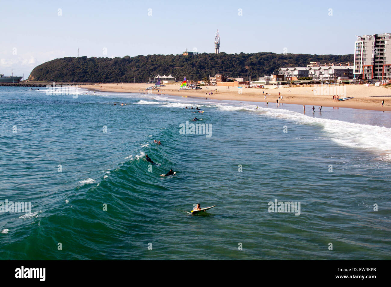 DURBAN, SOUTH AFRICA - JUNE 7, 2015: Many unknown people and surfers on Vetch's beach in Durban, South Africa - Stock Image