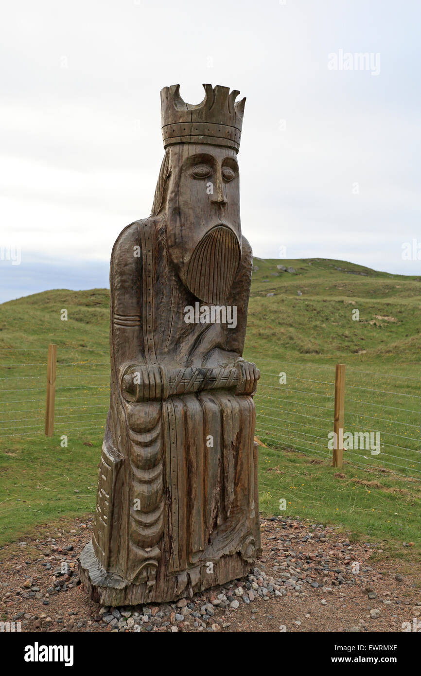 Lewis Chess Man Statue Uig Beach Outer Hebrides - Stock Image