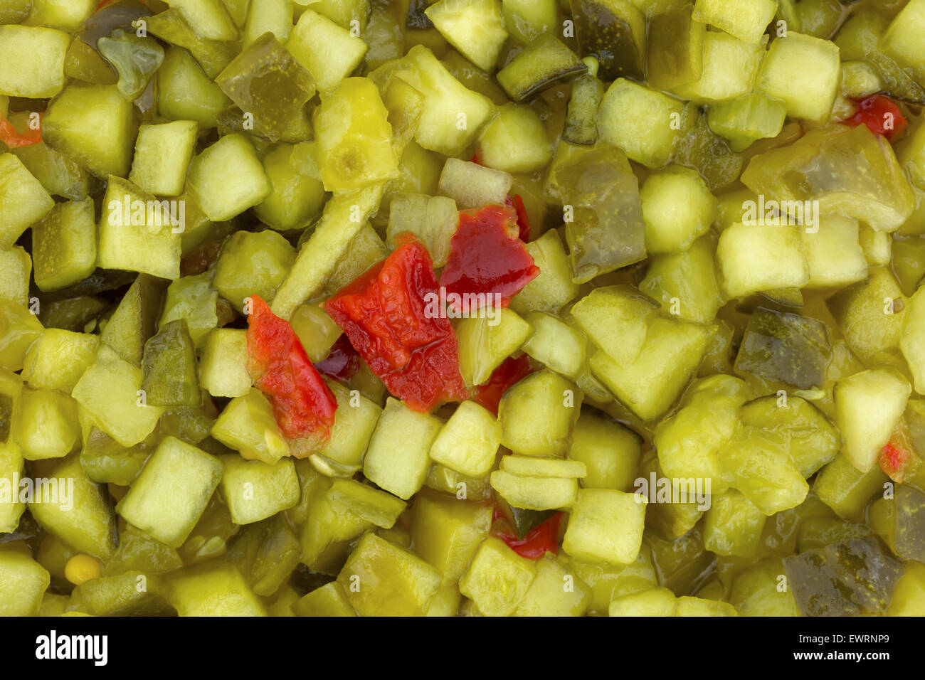 A close view of delicatessen style sweet relish. - Stock Image