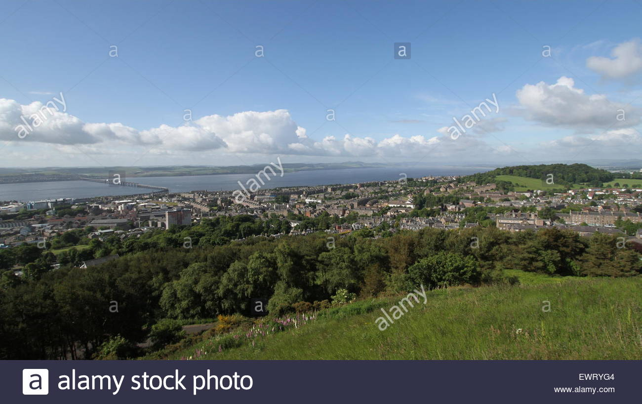 Elevated view of Dundee including Tay Rail Bridge and Lochee Park Scotland June 2015 - Stock Image