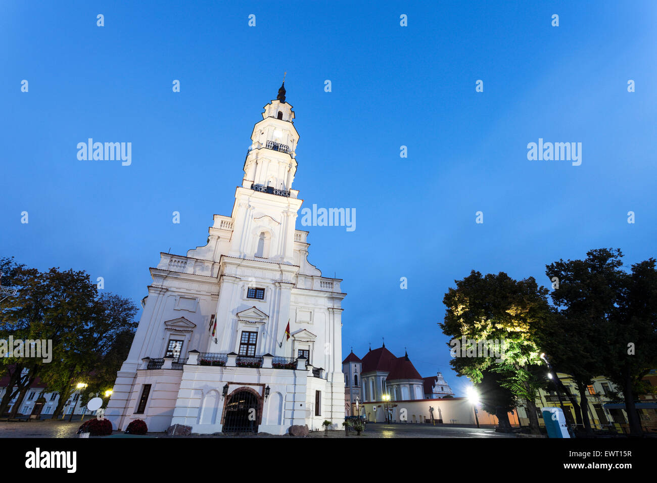 Town Hall in Kaunas at sunset. Kaunas, Lithuania. - Stock Image