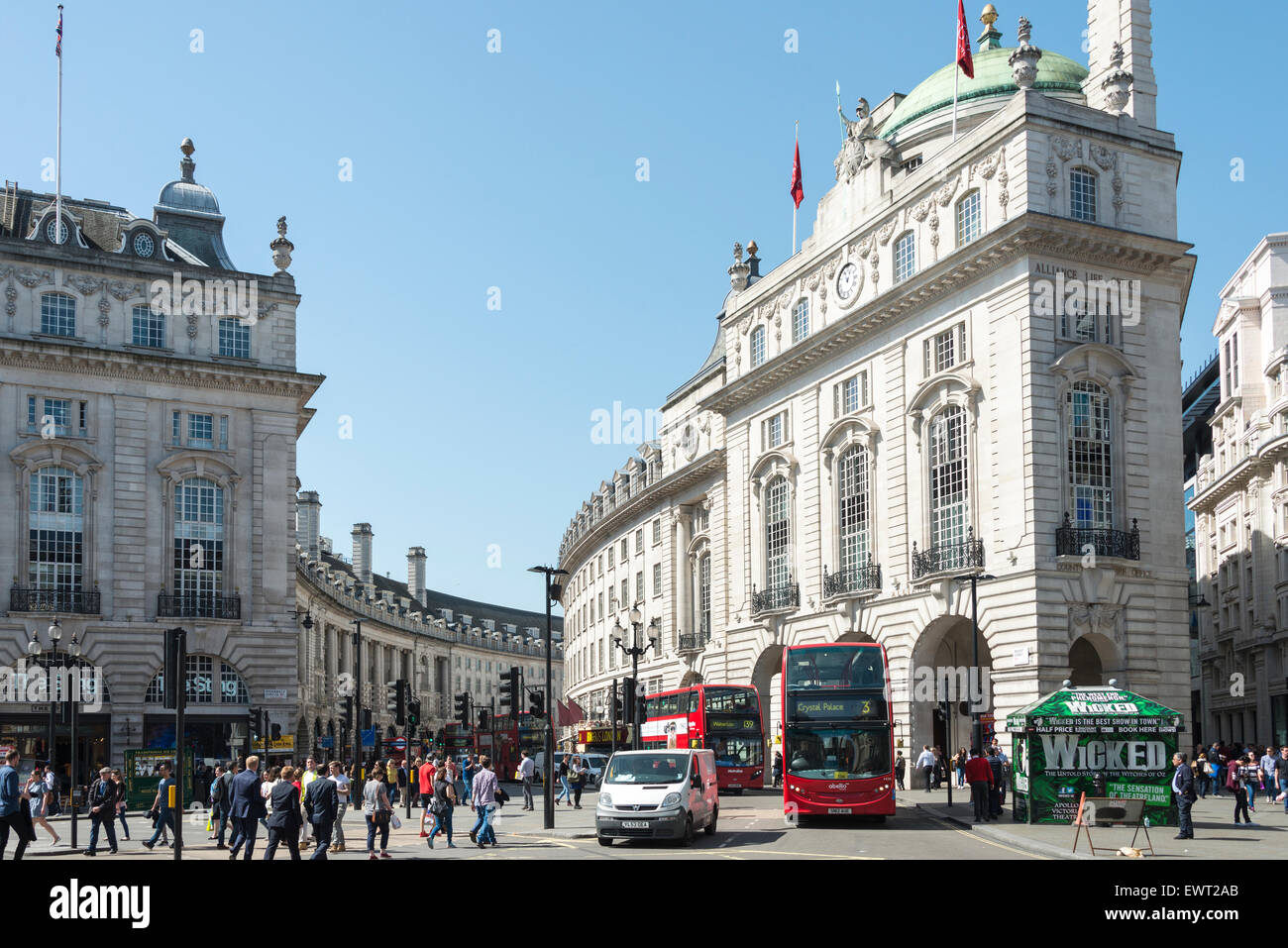 View towards Regent Street from Piccadilly Circus, West End, City of Westminster, London, England, United Kingdom - Stock Image