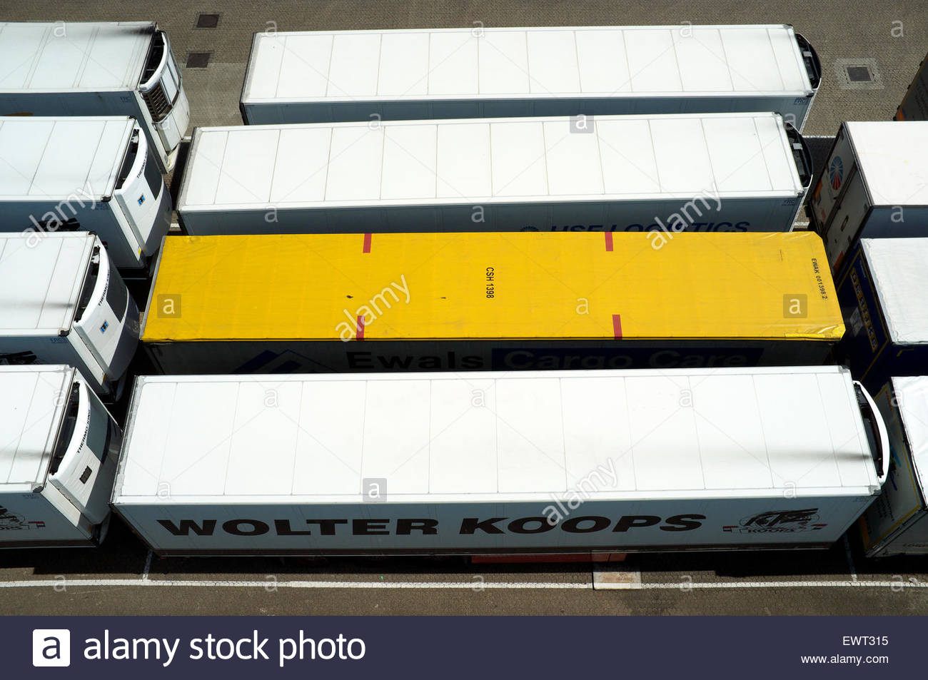 Lorry semi-trailers awaiting on the quayside for another international freight journey, at Hoek van Holland, Netherlands. - Stock Image