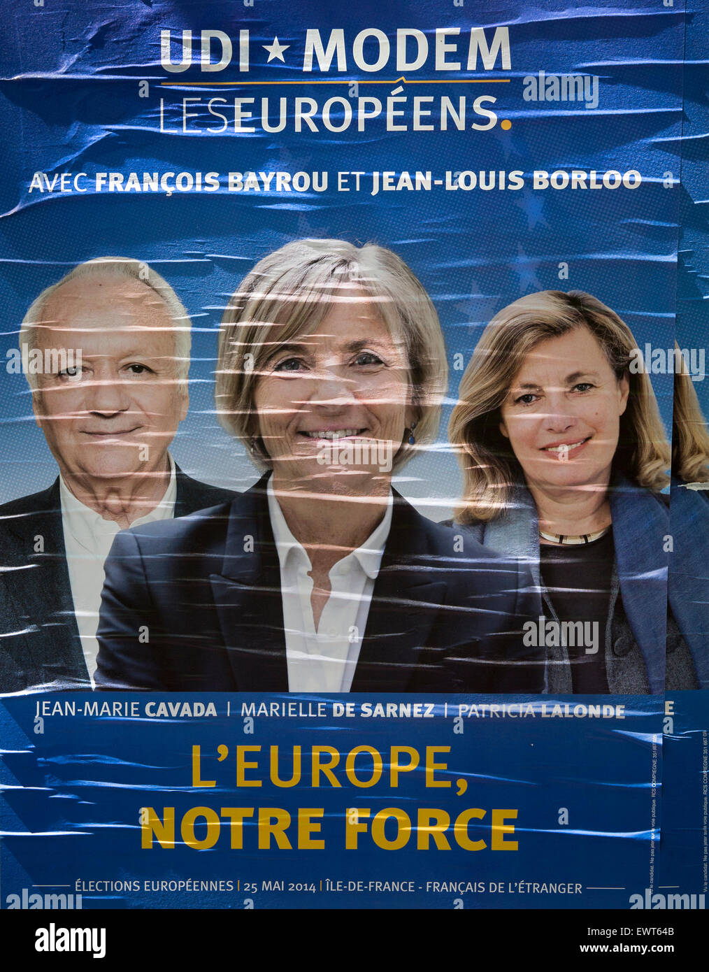 European Parliament election poster for French candidates Jean-Marie Cavade, Marielle De Sarnez, and Patricia LaLonde - Stock Image