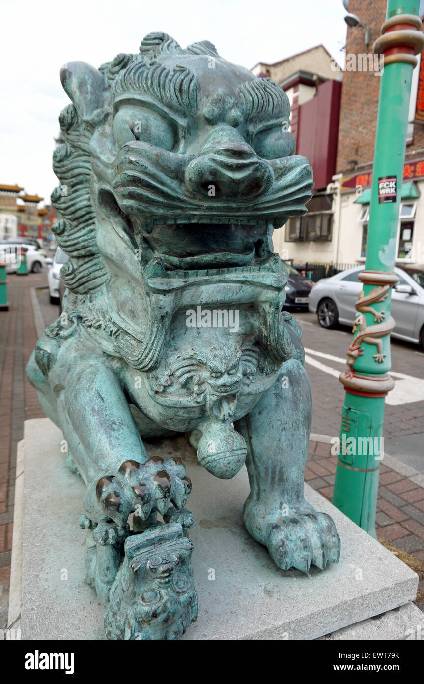 Female Guardian Lion/Foo Dog In Liverpool's Chinatown - Stock Image