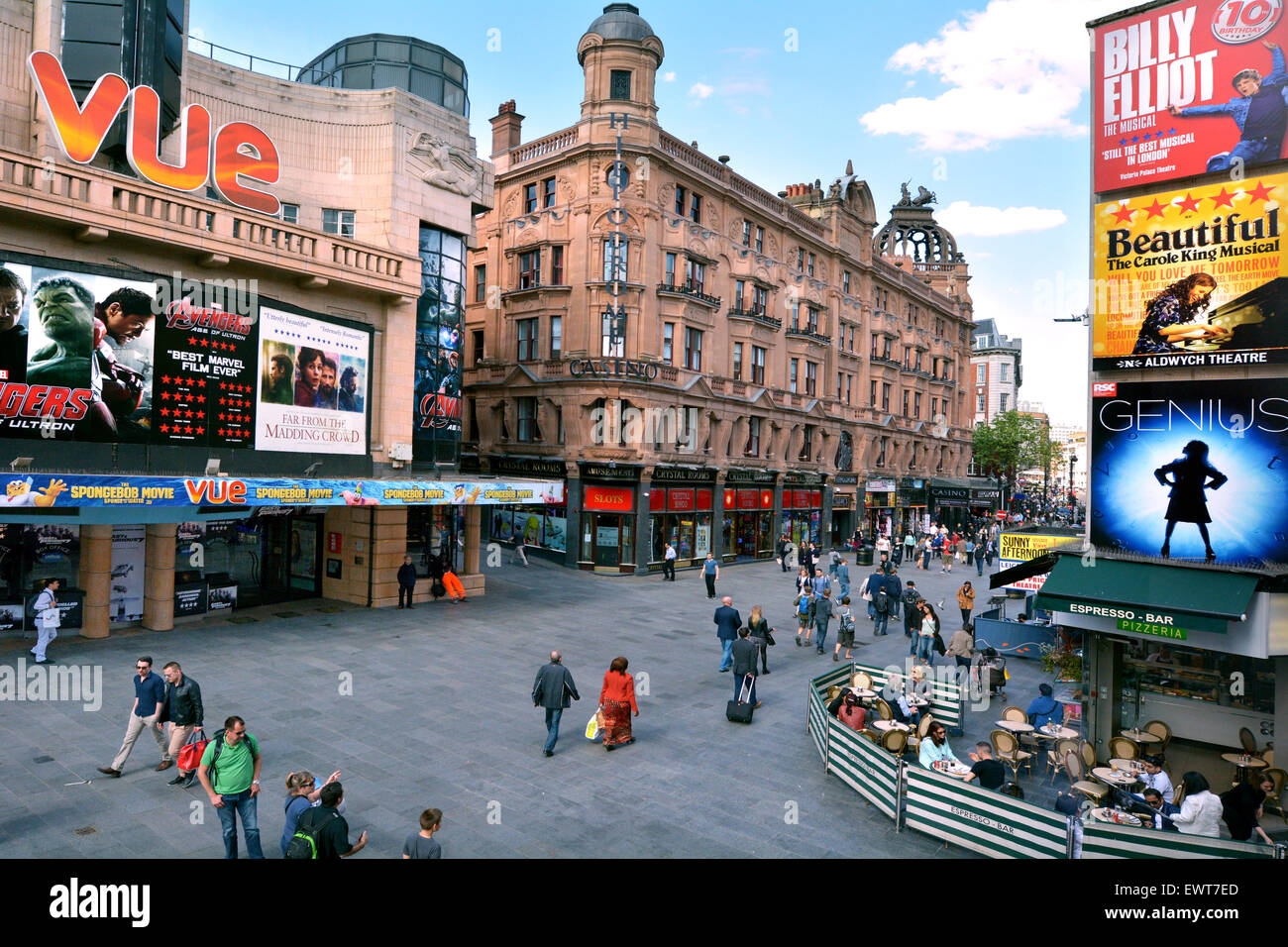 LONDON - MAY 13 2015:Aerial view of  Leicester Square London UK.The square is the prime location in London for world - Stock Image