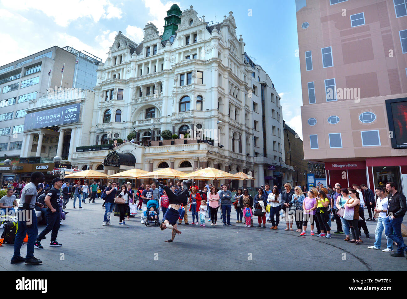 LONDON - MAY 13 2015:Street dancing show in Leicester Square London UK.The square is the prime location in London - Stock Image