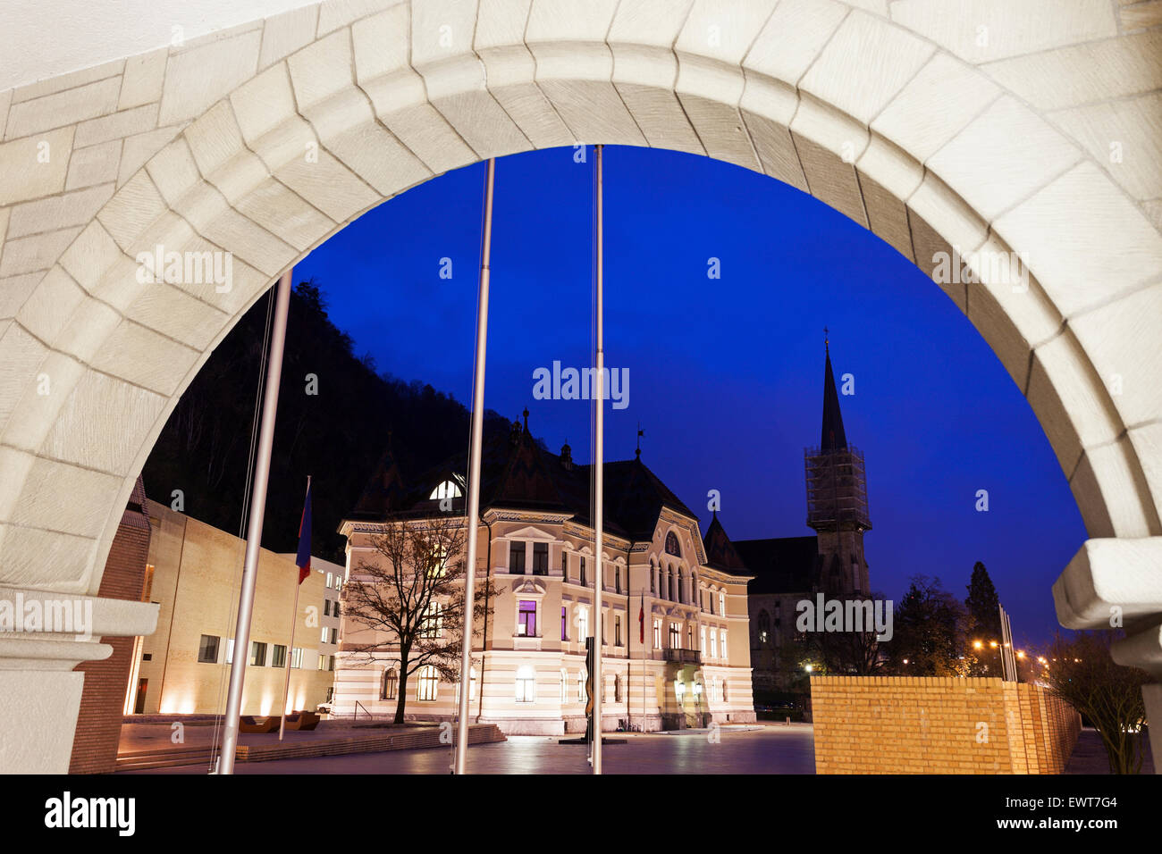 Parliament building and Vaduz Cathedral - Vaduz, Liechtenstein - Stock Image