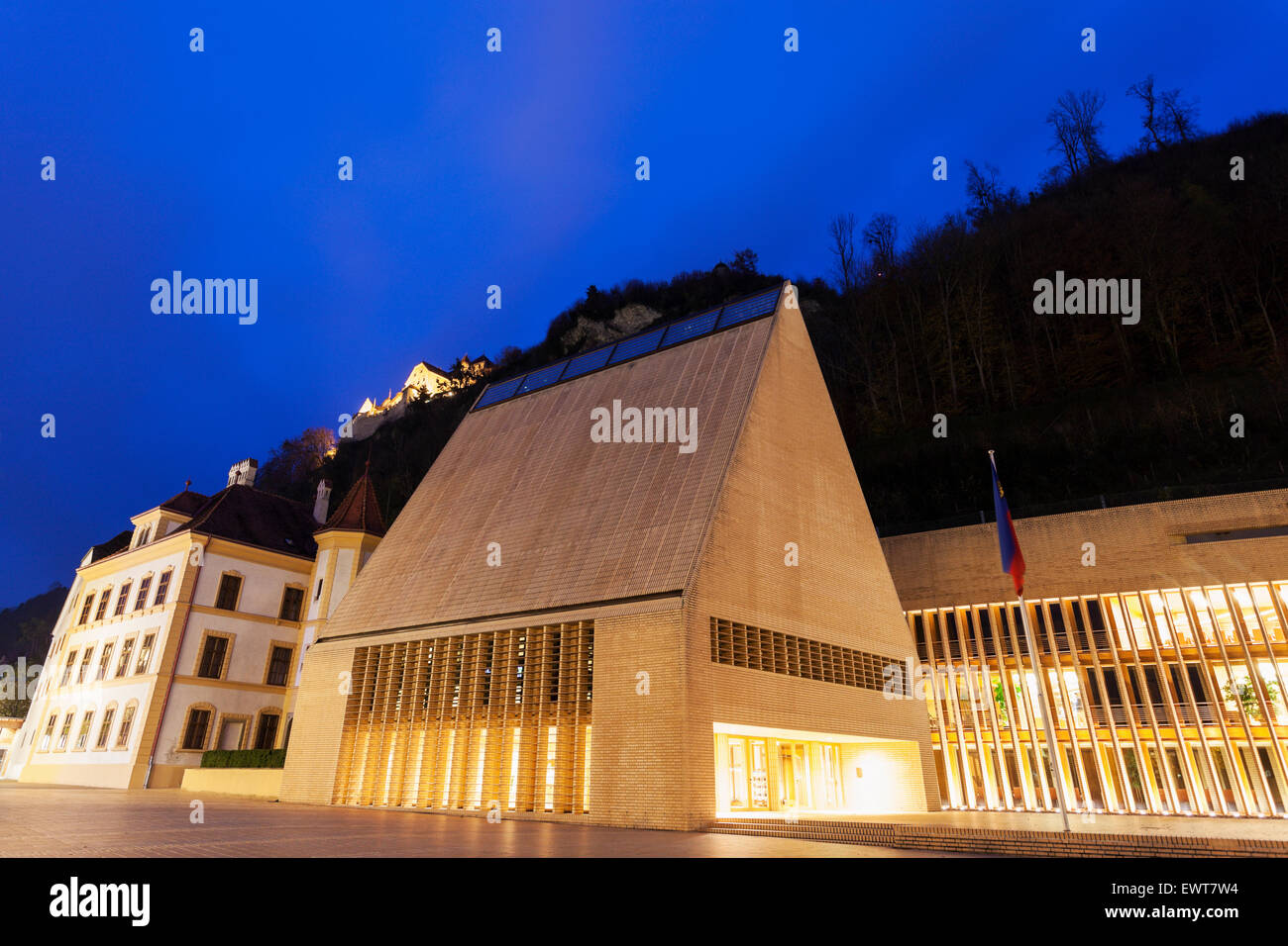 Sunset by parliament building in Vaduz. Vaduz, Liechtenstein Stock Photo