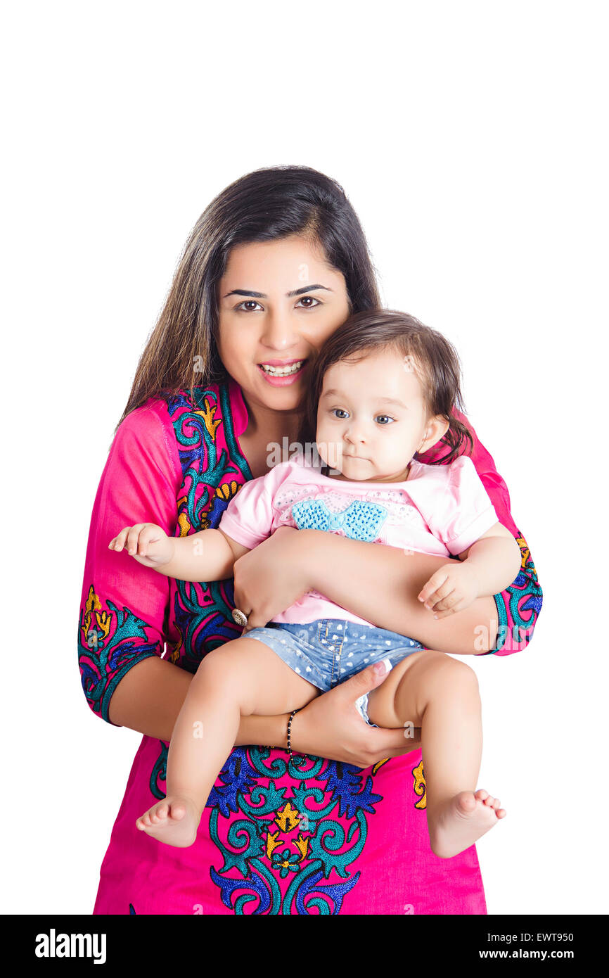 indian mother and child baby Caring Stock Photo: 84741916