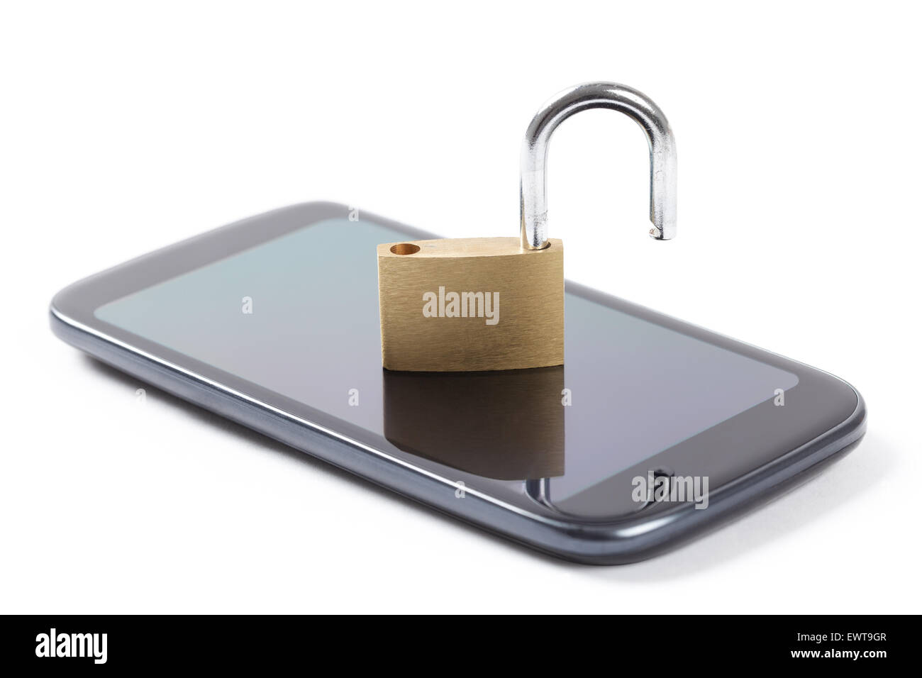 Phone with put unlocked padlock on it isolated on white background - Stock Image