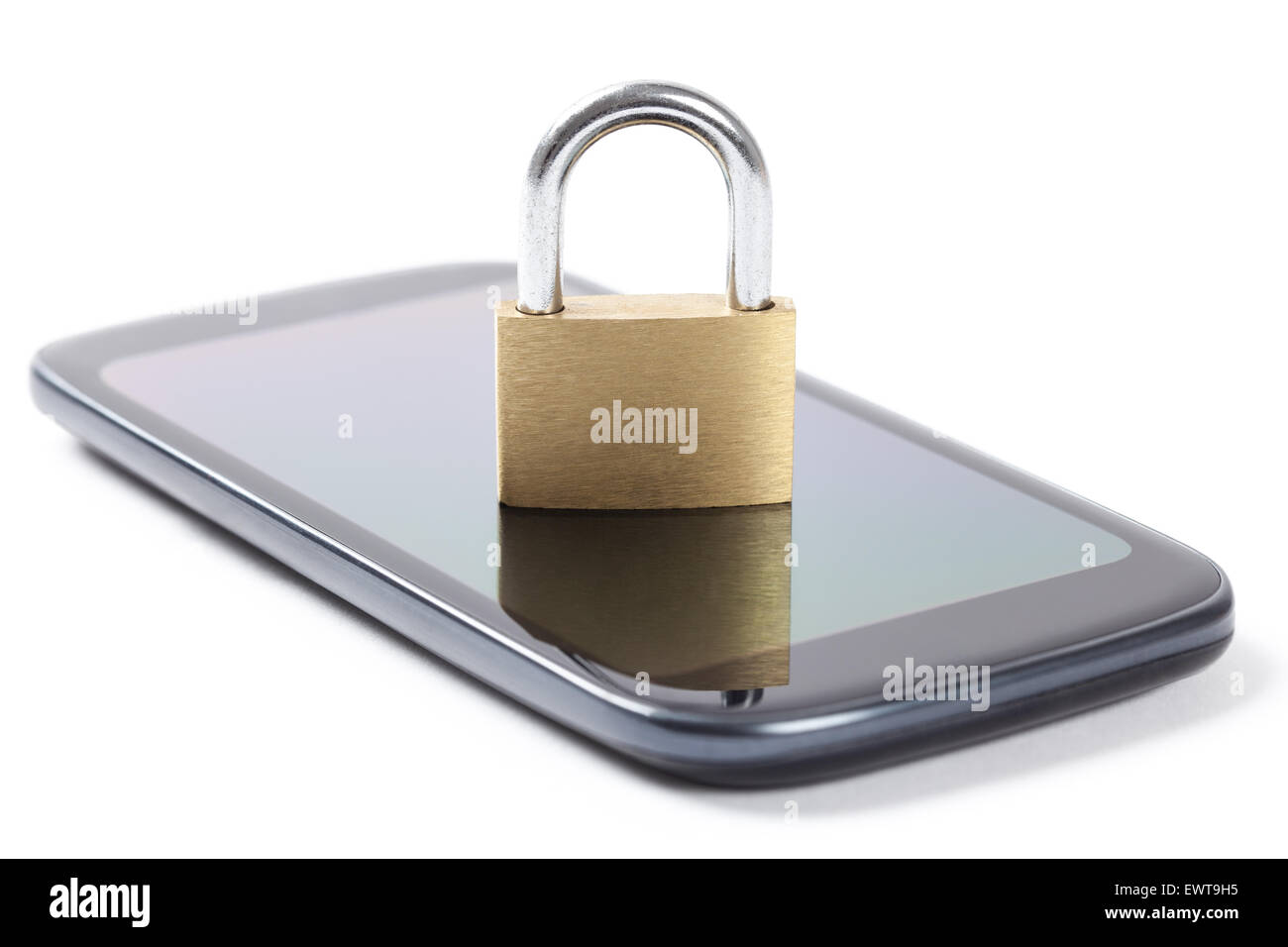 Locked padlock put on a phone's screen isolated on white background. - Stock Image