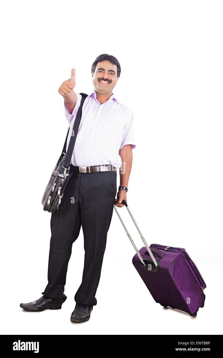 1 indian Business Man Passenger happy Journey - Stock Image