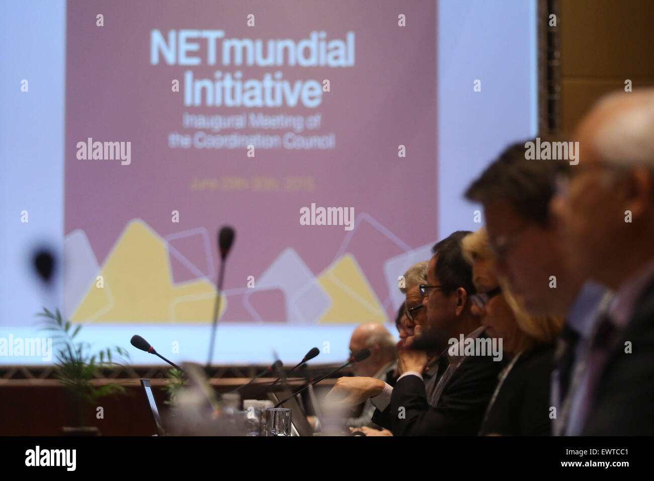 Sao Paulo, Brazil. 30th June, 2015. The Coordinating Council of the 'NETmundial' Initiative meets in Sao - Stock Image